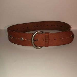 Fossil Tan Studded Leather Contour Belt - Thick M